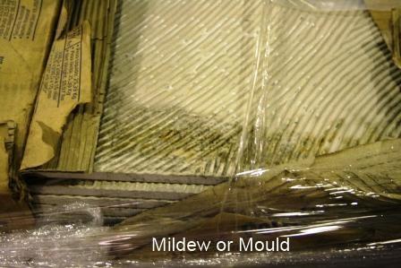 Mildew on tile due to wet cardboard packaging